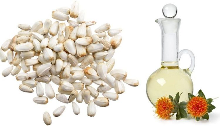 Safflower Oil with Seeds and Flowers