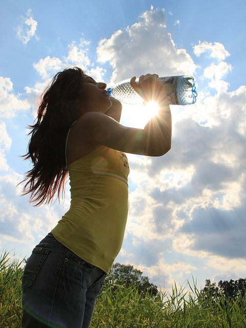 Woman Drinking Water in Hot Summer to Prevent Dehydration